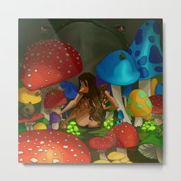 Toad and Toadstool Witch Metal Print
