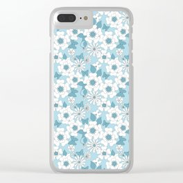Pale blue floral pattern . Clear iPhone Case
