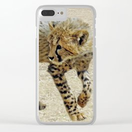 Baby cheetah learning to stalk Clear iPhone Case