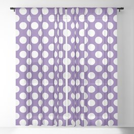 White Polka Dots with Purple Background Sheer Curtain