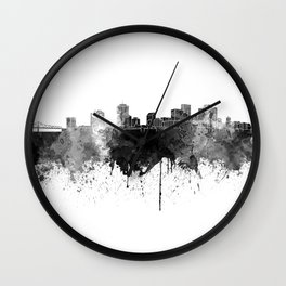 New Orleans skyline in black watercolor on white background Wall Clock
