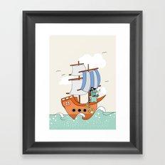 Dinosaur on a ship Framed Art Print