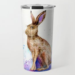 Watercolor Brown Hare Portrait Travel Mug
