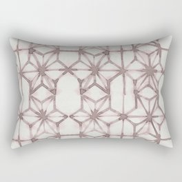 Simply Shibori Stars in Red Earth on Lunar Gray Rectangular Pillow