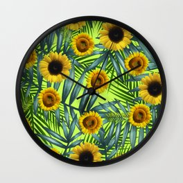 Sunflower Party #3 Wall Clock