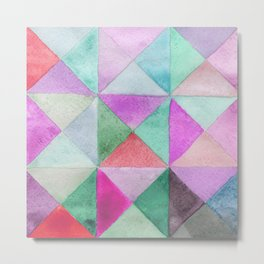 Watercolors triangles and squares, multicolored ornament, purple blue lilac green b Metal Print