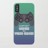 video games iPhone & iPod Cases featuring Support Women in Video Games by Inappropriately Adorable
