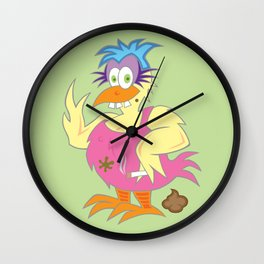 Crackers' Therapy Chicken (Green) Wall Clock