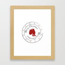 Merry Christmas Santa Claus Stamp with Stars Framed Art Print