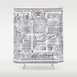 PHILADELPHIA University map PENNSYLVANIA dorm decor Shower Curtain