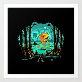 Magical Mutant Frog Swamp Art Print