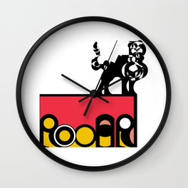 Roar in a Box (top right)- The word Roar within a box decorated in Pink and Yellow and a feline on top.  Wall Clock