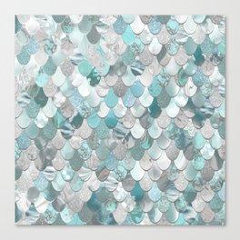 Mermaid Aqua and Grey Canvas Print