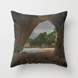 Dawn at Cathedral Cove 2 Throw Pillow