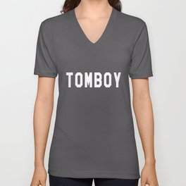Tomboy Slogan Crew Neck Sweatshirt lesbian Unisex V-Neck