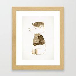 Elephant and Beret Sepia Framed Art Print