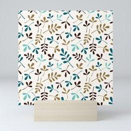 Assorted Leaf Silhouettes Teals Brown Gold Cream Ptn Mini Art Print