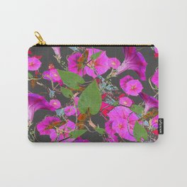 Decorative Pink Morning Glories on Grey Art Design Carry-All Pouch