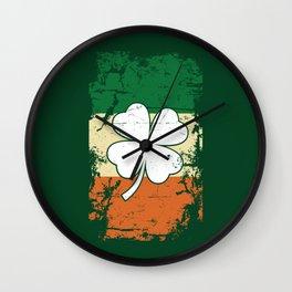 Distressed Irish Flag St Patrick Shamrock Green Wall Clock