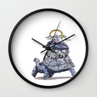 discworld Wall Clocks featuring The discworld by Aya Rosen