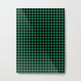 Black and Cadmium Green Diamonds Metal Print