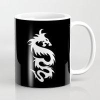 mythology Mugs featuring Chinese Mythology Dragon - Black White by Strawberry and Hearts