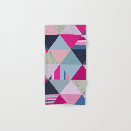 Pink, Blue and Silver Triangles Hand & Bath Towel