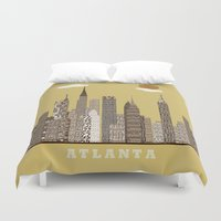atlanta Duvet Covers featuring Atlanta city vintage by bri.buckley