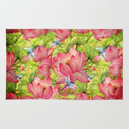 Floral Lotus Flowers Pattern with Dragonfly Rug