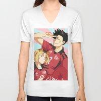 haikyuu V-neck T-shirts featuring nekoma! by Anyeka