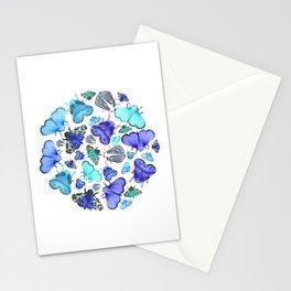 Blue Moths & Butterflies Stationery Cards