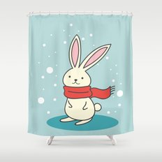 Winter Rabbit Shower Curtain