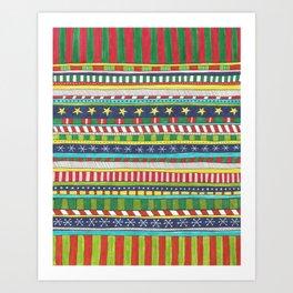 hand drawn christmasy striped pattern Art Print