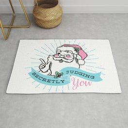 Santa is Secretly Judging You Rug