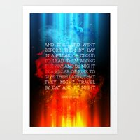 bible verses Art Prints featuring Typographic Motivational Bible Verses - Exodus 13:21 by The Wooden Tree
