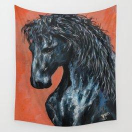 Friesian Horse Original Painting Wall Tapestry