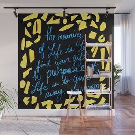 Picasso Quote in Teal and Yellow Wall Mural