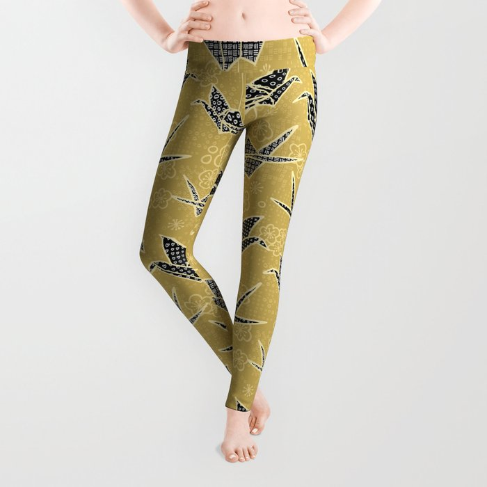 Black and Gold Japanese Origami Cranes Leggings