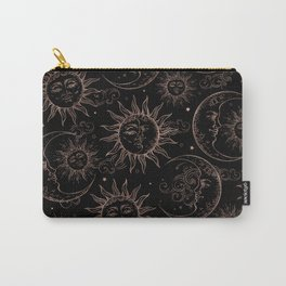 Black Rose Gold Celestial Vintage Sun Moon Carry-All Pouch