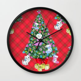 Bichon Frise red plaid cats christmas holiday themed pattern print pet friendly dog breed gifts Wall Clock