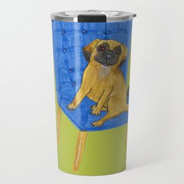 Happy Pug on a blue chair Travel Mug