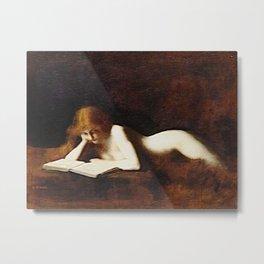 The Book Reader - La liseuse portrait painting by Jéan Jacques Henner Metal Print
