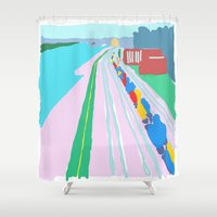montreal Shower Curtains featuring Montreal Trainyard by Jonah Grindler