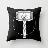 thor Throw Pillows featuring THOR! by John Medbury (LAZY J Studios)