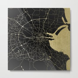 Dublin Ireland Black on Gold Street Map Metal Print