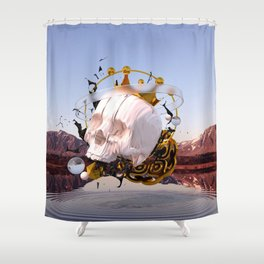 3D ABSTRACT - GOLD - GLASS - OIL - PORCELAIN Shower Curtain