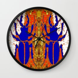 Lapis Blue Beetle on Gold Wall Clock