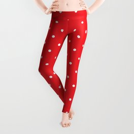 Small White Polka Dots with Red Background Leggings