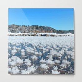 Watercolor Ice 19, Icy Lake Tufts Metal Print