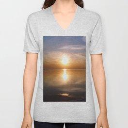 Lakeside Sunset Unisex V-Neck